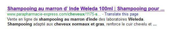 Résulat de recherche Google : Parapharmacie-Express.com