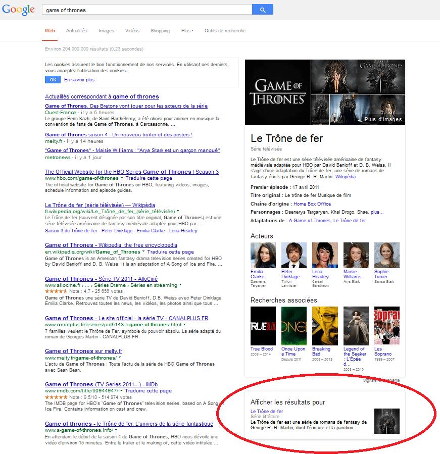 """Capture d'écran des résultats de la recherche """"game of thrones"""" sur Google et les options du Knowledge Graph."""