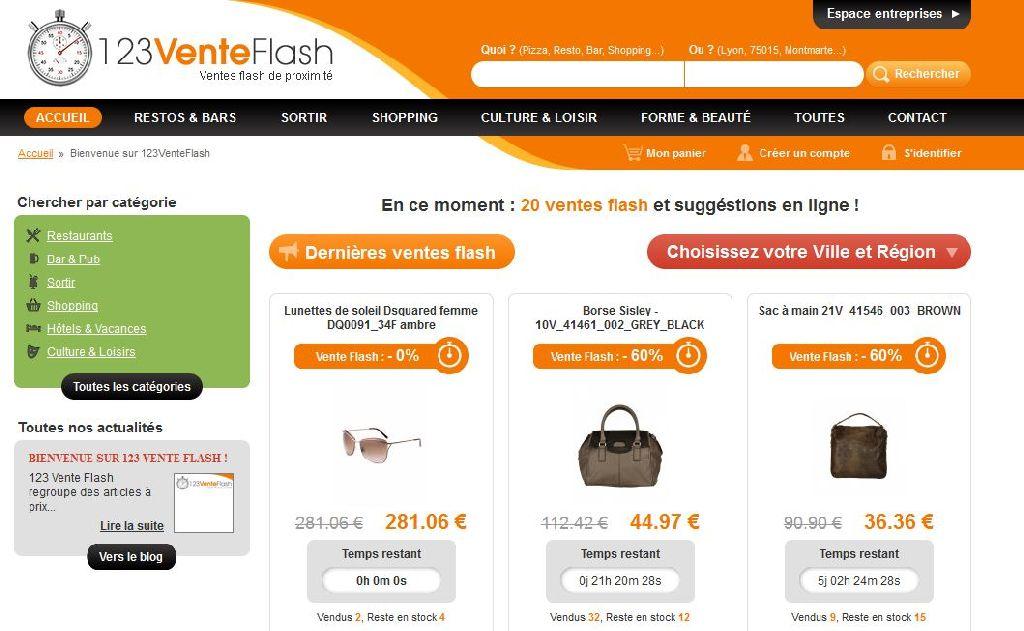 Accueil du site 123 Vente Flash, e-commerce sous Prestashop par l'agence web RIA Création