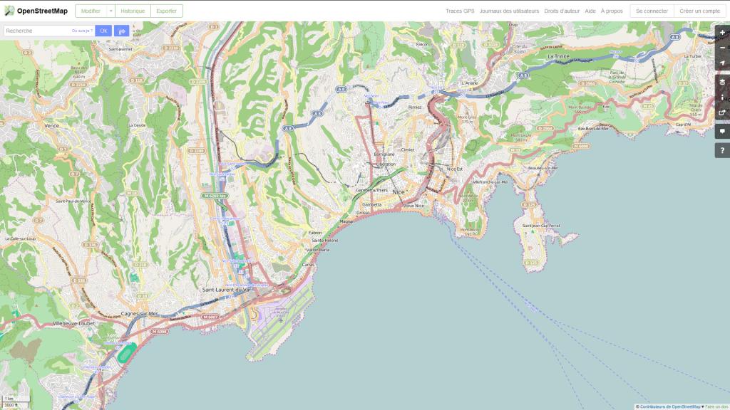 Capture d'écran de la ville de Nice avec Openstreetmap