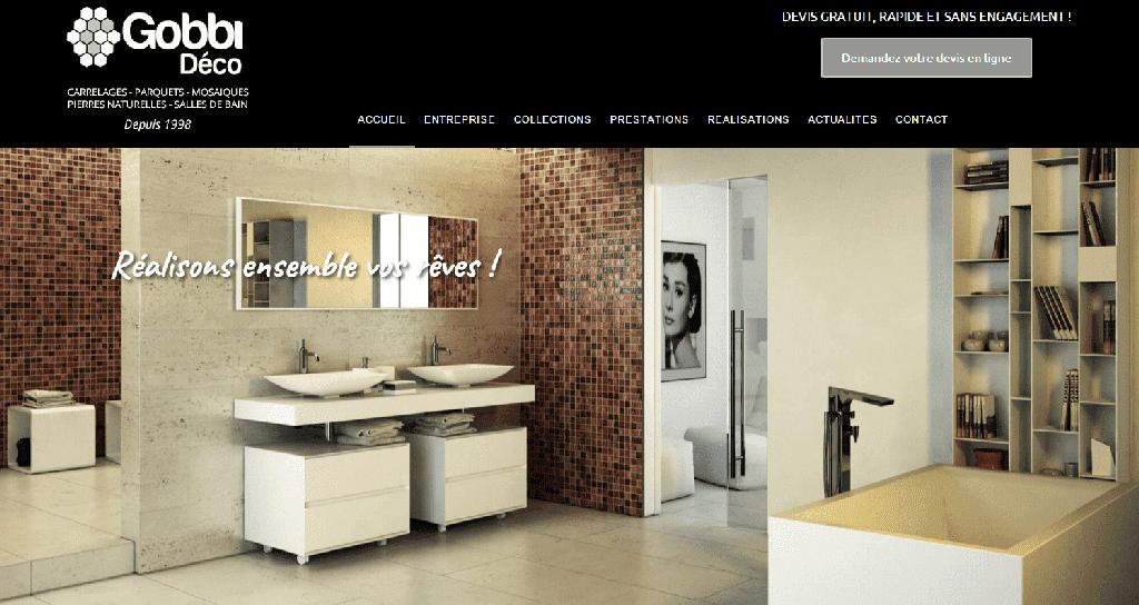 Page d'accueil du site internet de Gobbi Déco.