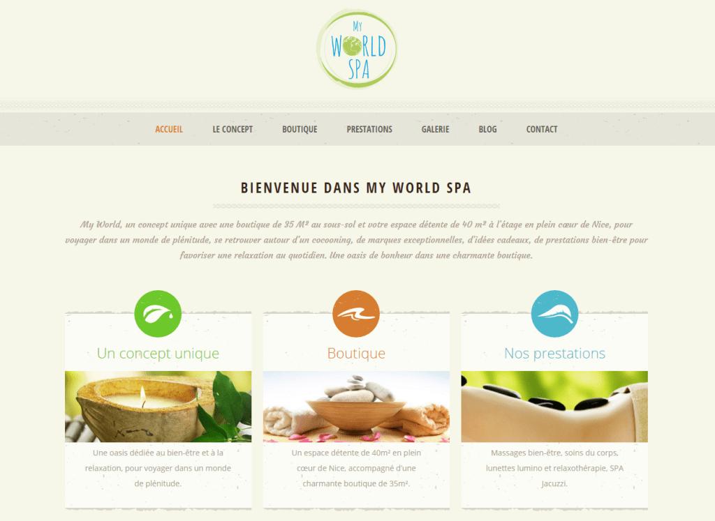 Page d'accueil du site internet My World Spa.