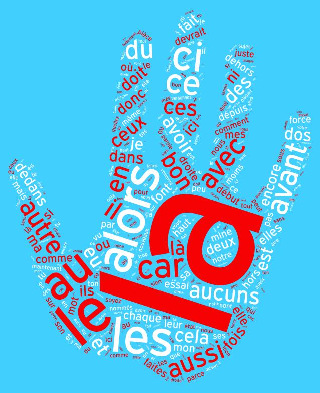 Nuage de mots vides en forme de main qui fait stop en rouge et blanc sur fond bleu comme le logo de l'agence web RIA Création.