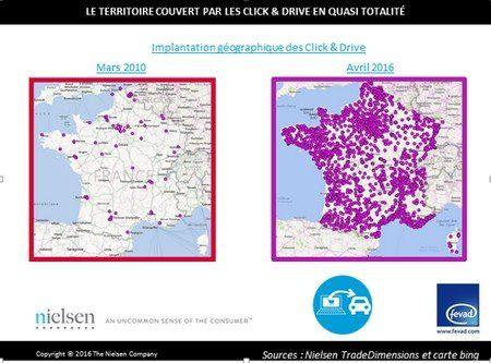 Répartition des sites de drive en France en 2010 et en 2016.