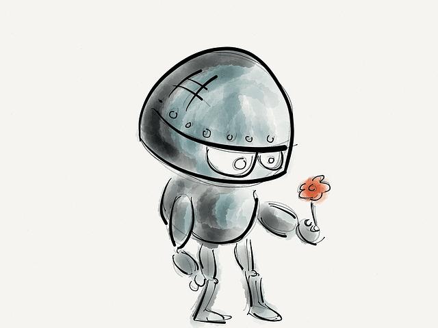 Dessin d'un robot tenant une fleur dans sa main.