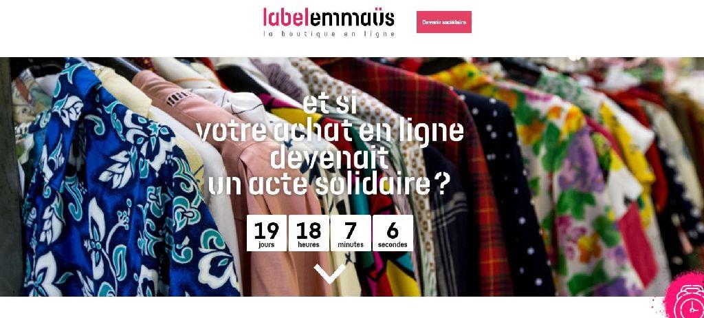 Capture d'écran du site internet Label Emmaüs.