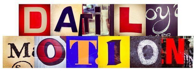 Dailymotion écrit en lettres de styles divers.