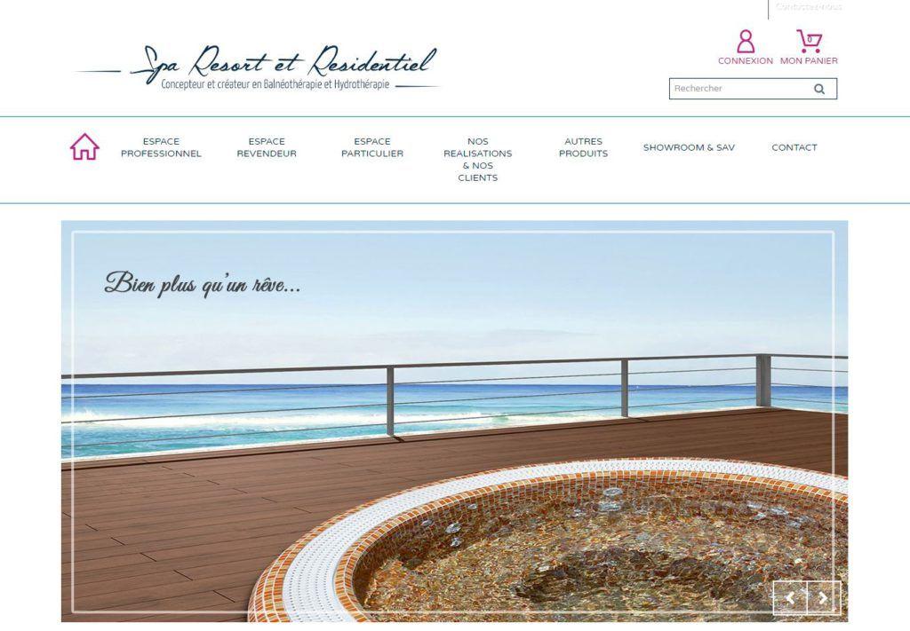 Page d'accueil du site internet de Spa Resort et Résidentiel.