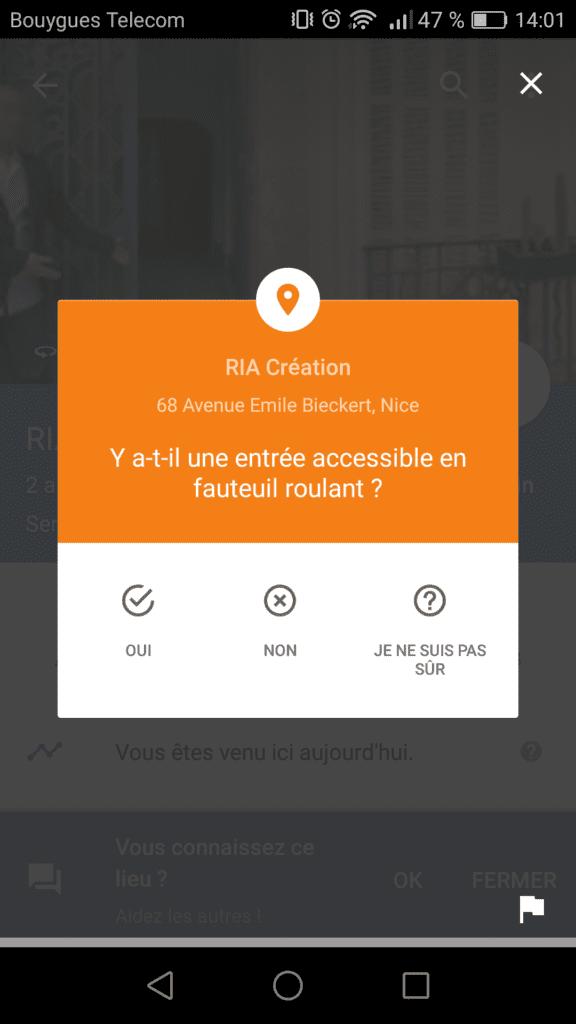 Capture d'écran de l'application mobile Google Maps.