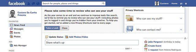 Message d'information de Facebook sur la confidentialité.