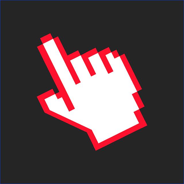 Un main symbolisée à base de pixels.