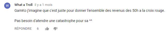 Capture d'un commentaire sous l'annonce de Z Event en septembre 2017.