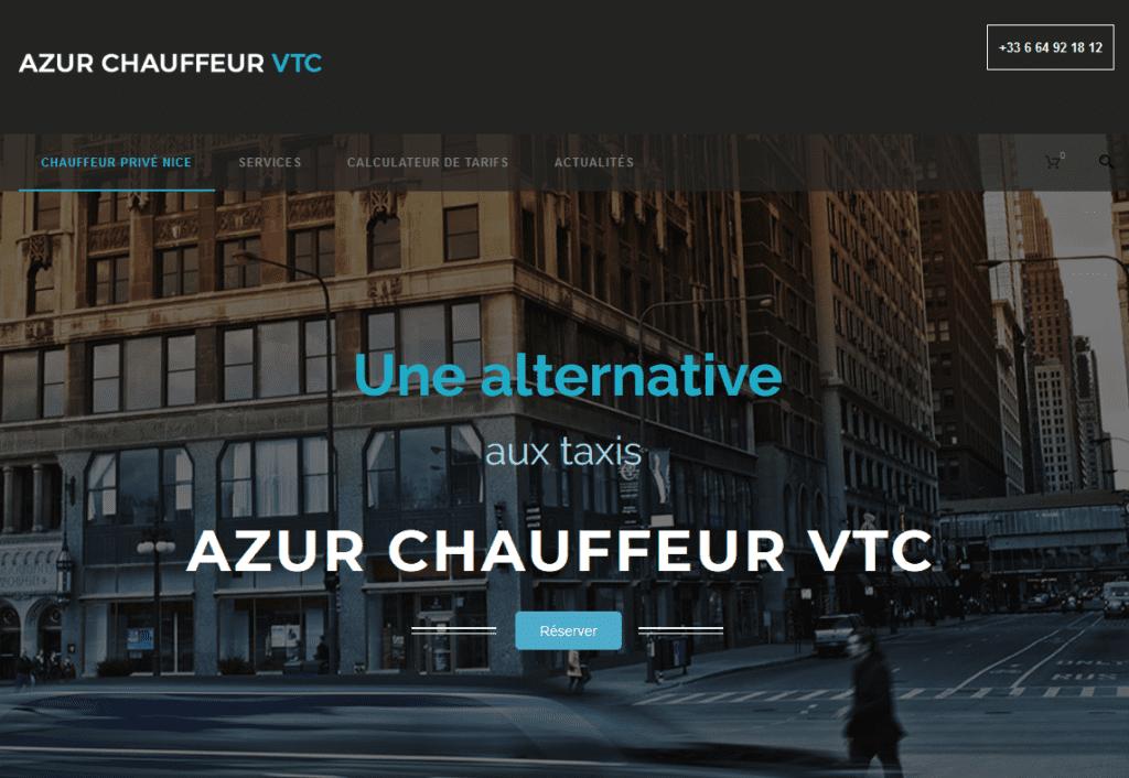 Accueil du site réalisé par RIA Création, Azur Chauffeur VTC, VTC à Nice.