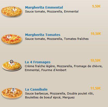 Menu pizza livraison nice