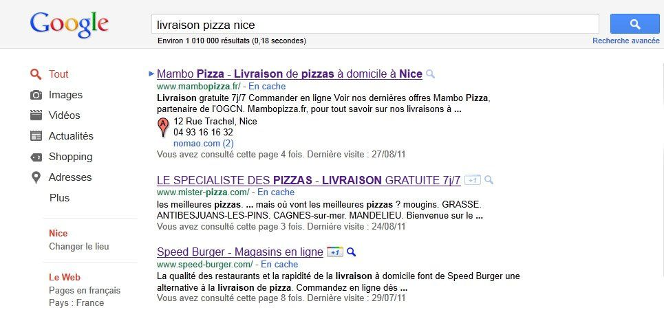 recherche livraison pizza à nice sur google