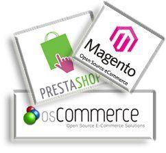 Logo de OsCommerce PrestaShop et Magento