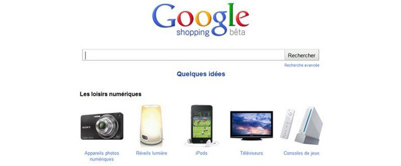 Page d'accueil de Google Shopping