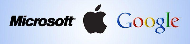 Microsoft, Apple et Google