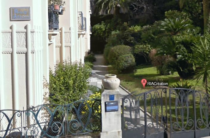 Plan de la vue Google Map donnant accès à la visite virtuelle de l'agence web RIA Création.