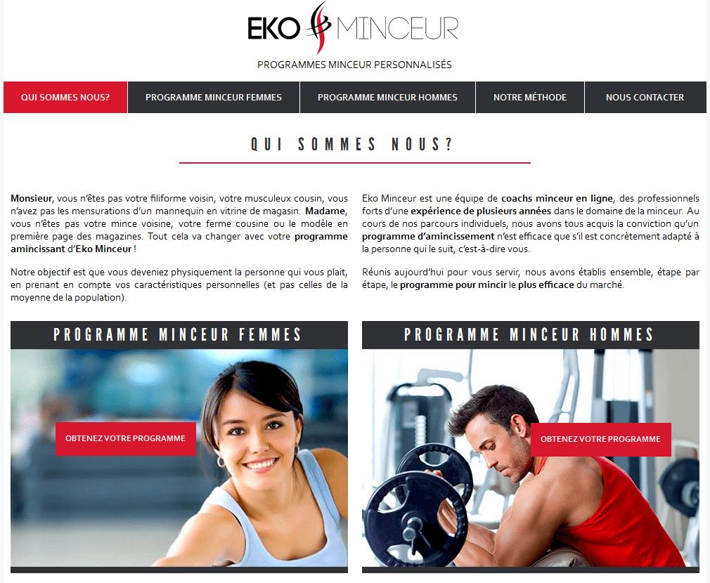 Page du site de coach minceur en ligne Eko Minceur, conçu par l'agence web RIA Création.