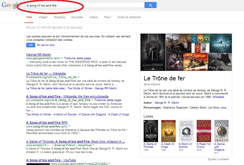 """Capture d'écran de la recherche de """"Games of thrones"""" sur Google, après avoir choisi une recherche plus précise."""