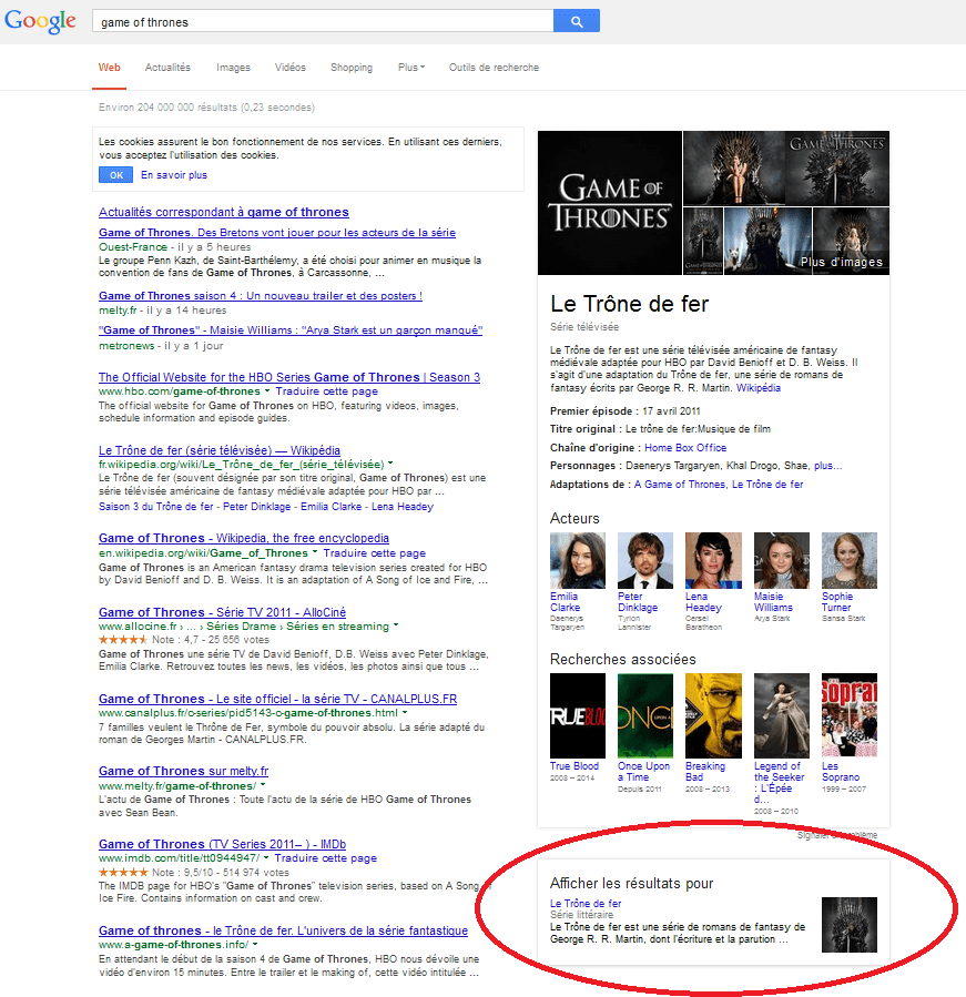 "Capture d'écran des résultats de la recherche ""game of thrones"" sur Google et les options du Knowledge Graph."