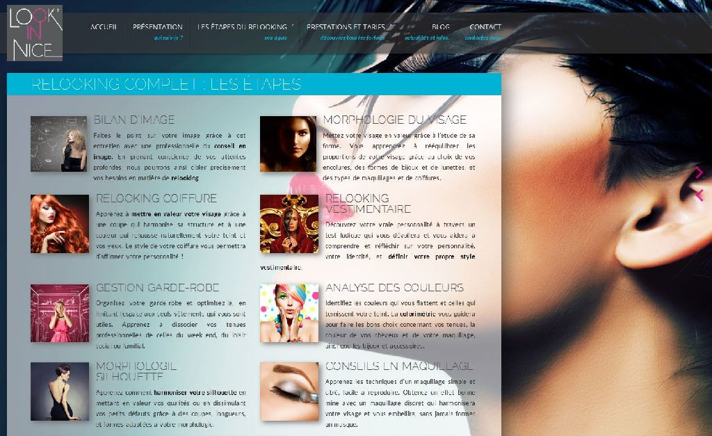 Page des étapes du relooking du site Look'in Nice, agence relooking Nice.