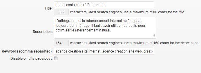 Capture d'écran des balises SEO dans un article sous WordPress.