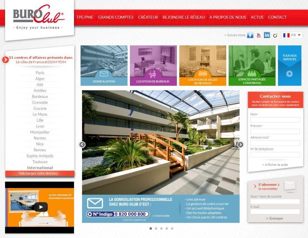 Site internet du réseau de location de bureaux Buro Club.