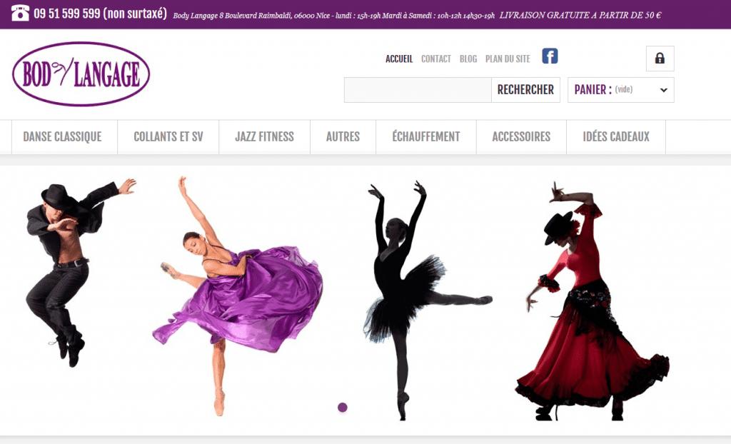Page d'accueil de Body Langage, magasin de référence en tenues de danse