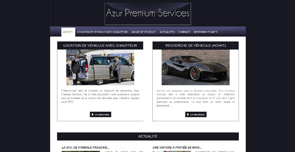 Page d'accueil d'Azur Premium Services