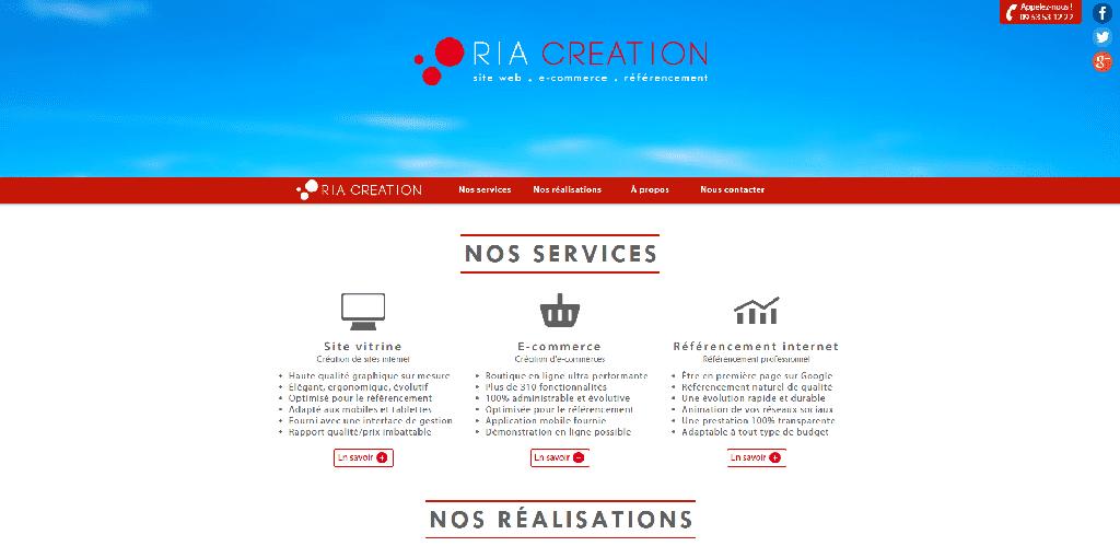 Screenshoot du site web de l'agence RIA Création