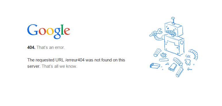 Erreur 404 proposée par Google