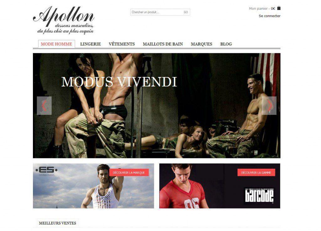 Page d'accueil d'Apollon Lingerie