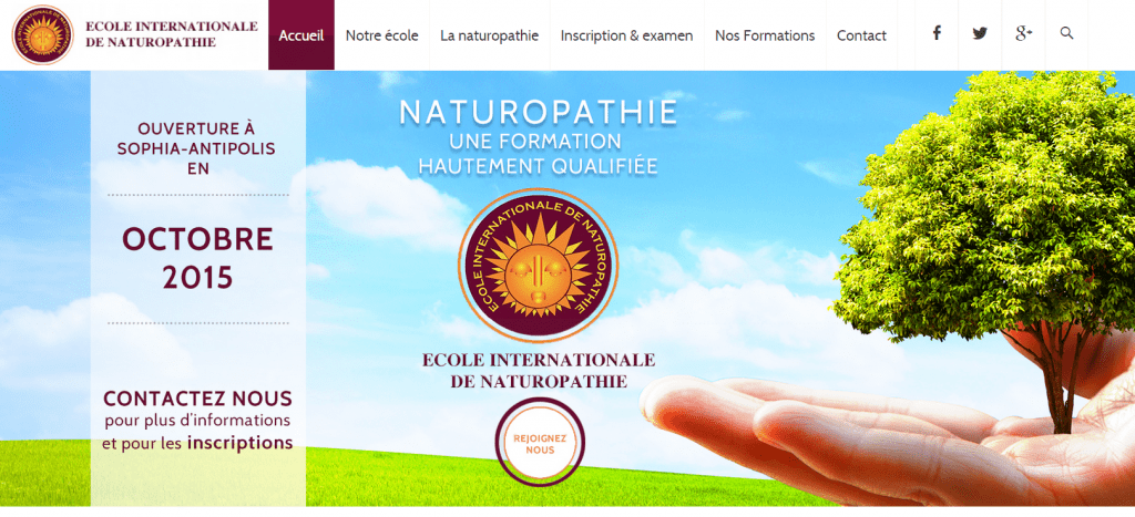 impression ecran accueil ecole internationale de naturopathie