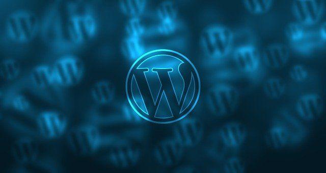 Le logo du système de gestion de contenu web WordPress, sur fond bleu.