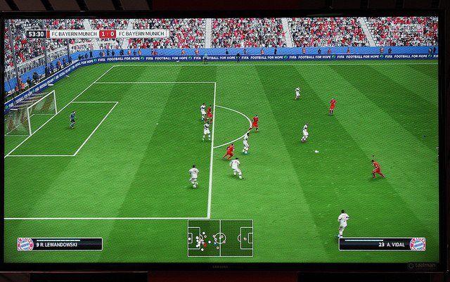 Une partie du jeu vidéo de football Fifa 16.