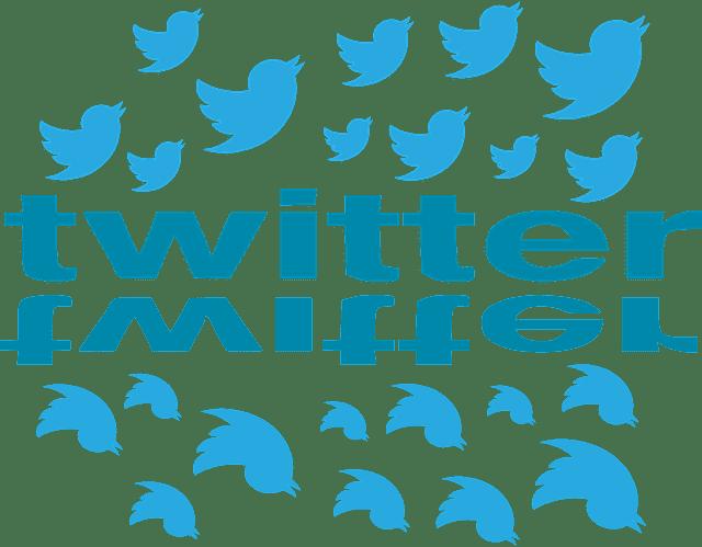 """""""Twitter"""" écrit en bleu entouré de son logo : un oiseau bleu."""