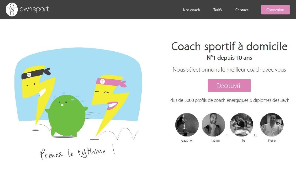 Page d'accueil du site de coaching sportif Ownsport.