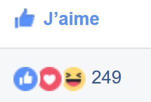 Réactions J'aime J'adore Haha à une publication sur Facebook.