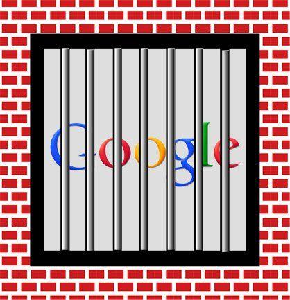 Montage du logo Google derrière des barreaux de prison.