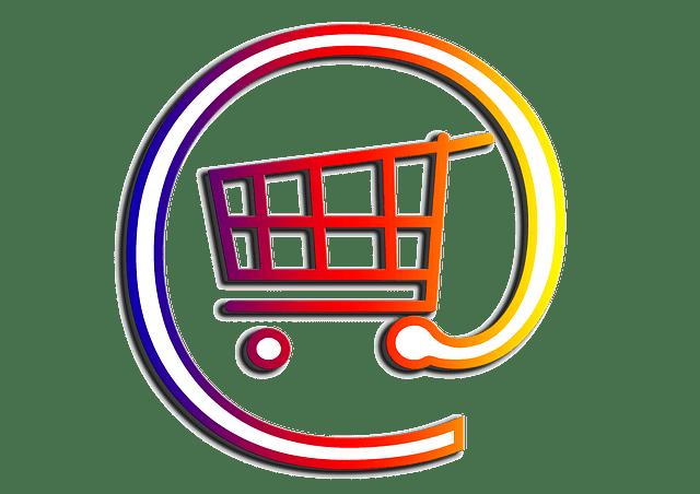 Caddie dans un arobase symbolisant l'e-commerce.
