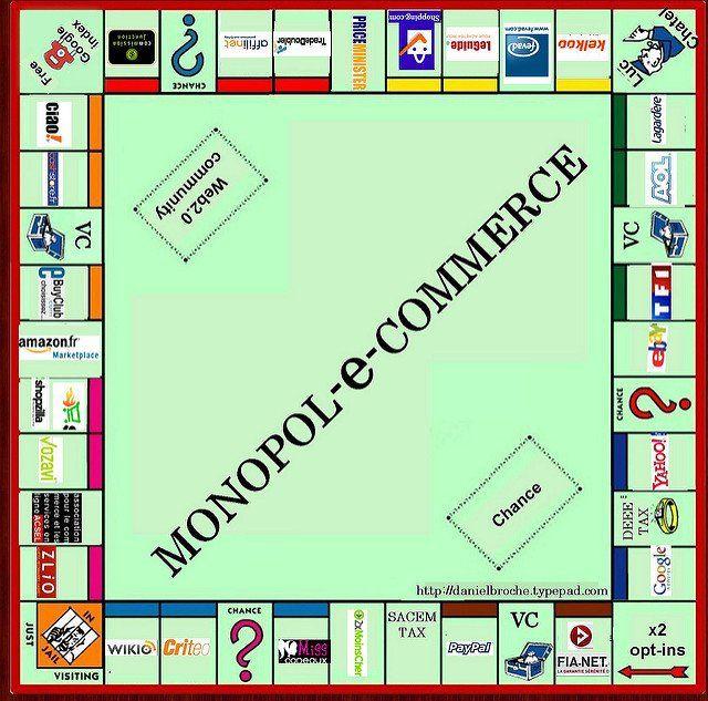 """Faux jeu de Monopoly sur lequel il est écrit """"monopol-e-commerce""""."""