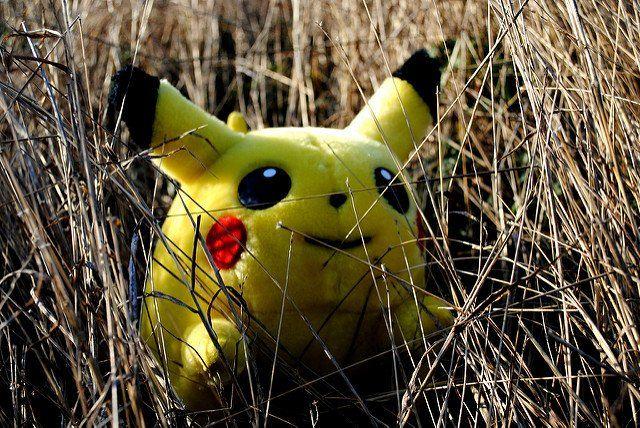 Une peluche Pikachu cachée dans l'herbe sèche.