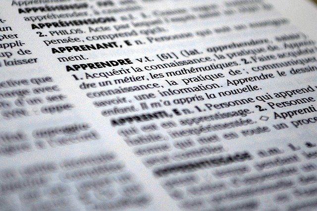 Page d'un dictionnaire.