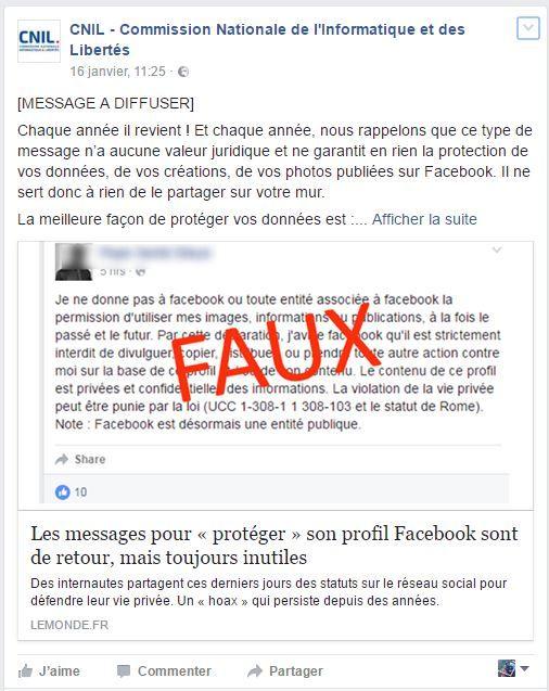Message de la Cnil sur le les droits sur Facebook.