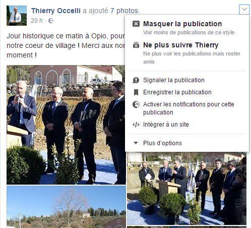Capture d'écran d'une publication Facebook dont on a déroulé l'onglet de droite qui permet de signaler ladite publication.