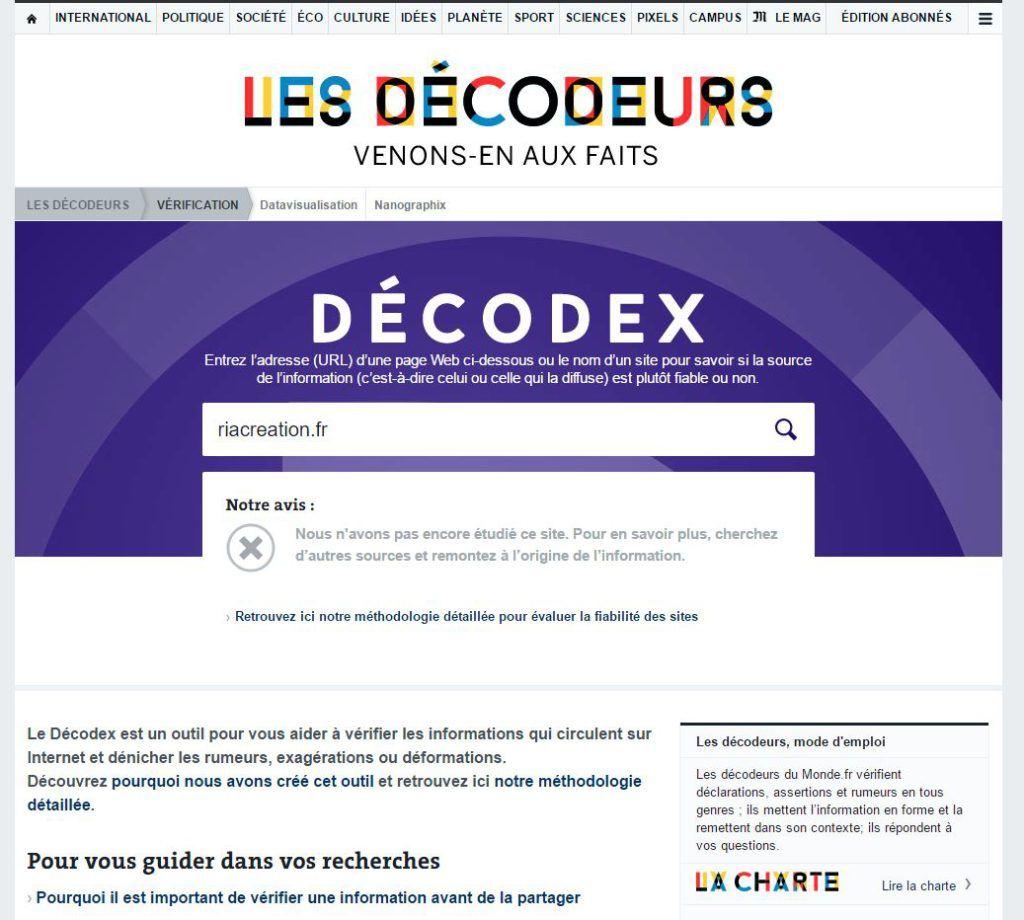 Capture d'écran du moteur de recherche Décodex, Le Monde.fr.