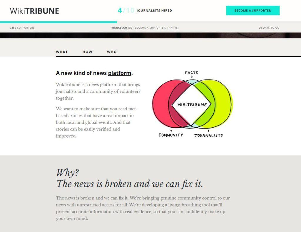 Capture d'écran de la plateforme de financement participatif de Wikitribune.