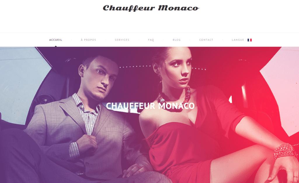 Page d'accueil du site Chauffeur Monaco.